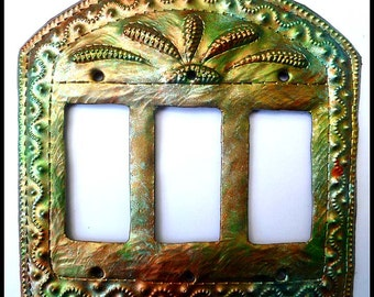 Metal Switch Plate - Metal Light Switchplate Cover -Rocker Switch Cover - Iridescent, Haitian Metal Art - Switch Plate Covers - HRS-106-3-IR