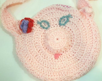 Pink Piggy Purse, Little Girl Pig Purse, Crocheted Pig Purse, Teen Pig Purse, Medium Sized Piggy Purse