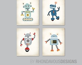Robot Nursery Art. Robot Art. Boy Nursery Art. Boy Nursery Decor. Baby Boy Shower Gift. Playroom Wall Art Prints. Robot Wall Art. NS817