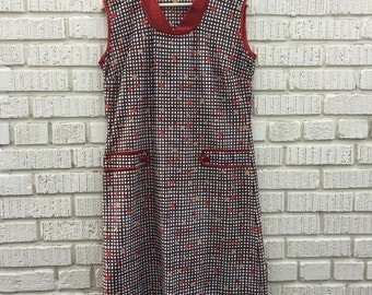 Vintage House Dress. White and Brown Checkered Sleeveless Dress. Maroon. Polkadot.