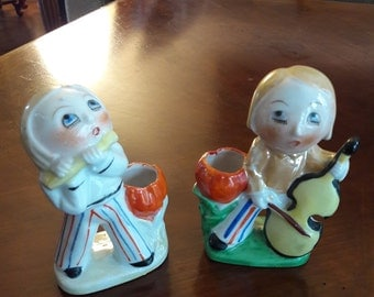 """Vintage Hand Painted Figural """"Girl and Boy Playing Instruments"""" Toothbrush Holders (2)"""