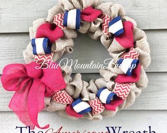 Americana Burlap Wreath, American Flag Burlap Wreath, Memorial Day Wreath, Red White and Blue Decor