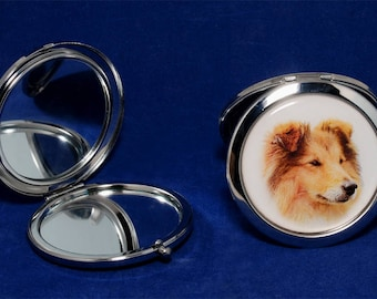 Collie dog 2-sided foldable pocket mirror. Great gift for any Collie owners and lovers.