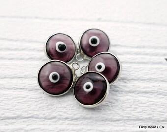Purple Evil Eye, Turkish Evil Eye Charm, Evil Eye, Silver Plated, Glass Evil Eye Beads, Jewelry Making Supplies, Greek Evil Eyes, Purple