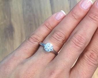 Diamond Engagement Ring 2.20 Carat Round Cut  E/SI2 14K White Gold #J75579   FREE SHIPPING