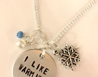 "Disney Frozen Inspired Hand Stamped Necklace - ""I Like Warm Hugs"""