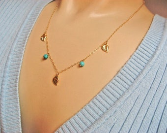 Tiny Leaves Necklace, Turquoise Necklace, 14k Gold Fill, Autumn Leaves Jewelry, 3 Leaves Necklace, Dangle Necklace, December Birthstone