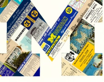 University of Michigan M Print made with vintage UM papers. Prints and Note cards.