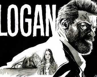 LOGAN - original unique ink drawing portrait A3 X-Men Wolverine