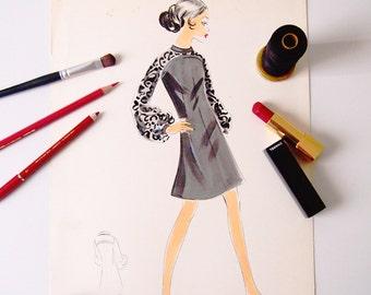 Digital printing/poster/black cocktail dress pattern design tailoring 50 years '