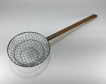 Fryer Basket, Fryer Utensil, Hand Held Fryer Basket, Metal Fryer Basket, Wire Fryer Basket, Grease Strainer, Wood Utensil, Vintage Utensil