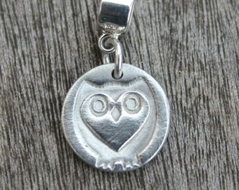 Silver owl charm, owl charm, bracelet charm, handmade silver charm, silver charms, pandora charm, pandora silver charm