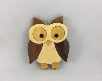 WoodenWhite Owl Ornament
