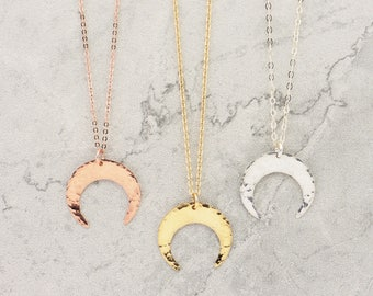 Crescent Moon Necklace · Upside down Moon · Gold · Rose Gold or Sterling Silver · Layering Necklace