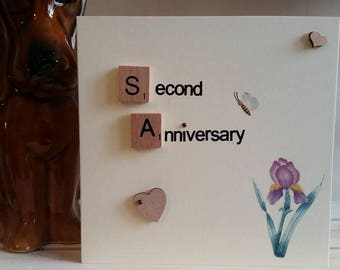 2nd Anniversary Card for Girlfriend, Wife, Husband, Boyfriend - Handmade Second Wedding Anniversary Card - 3D Card - Tulip Card