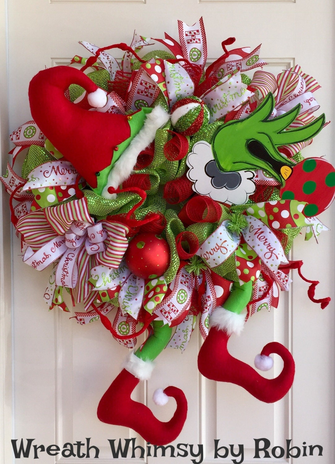 Grinch Christmas Deco Mesh Wreath In Lime Green Red Holiday