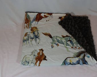 """Cowboy baby blanket, Pony baby blanket, Horse baby blanket, Cowgirl baby blanket, like the wind"""" Alexander Henry, SALE!!!  READY 2 SELL!!!!"""