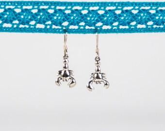 Sterling Silver Lobster Dangle Earrings, Lobster Earring, Nautical Earring, Beach Earring, Animal Earring, Dangle Earring