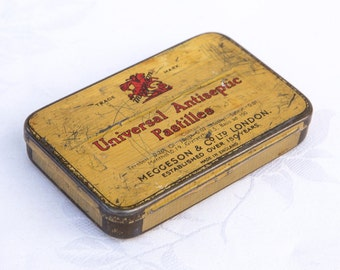 Vintage Universal Antiseptic Pastilles Tin  - by Meggeson & Co Ltd London