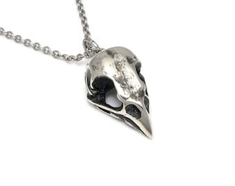 Handmade Sparrow Skull Pendant Necklace, Bird Cranium Jewelry in Pewter