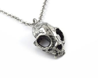 Cat Skull Necklace in Pewter, Oxidized Bobcat Pendant, Goth Jewelry