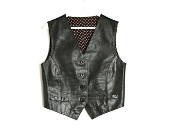 Vintage 80's 90's Black Leather Women's Formal Vest Waistcoat - M/L