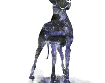 8x10 Great Dane Watercolor PRINT Painting - Silhouette with Cosmic Splace print of Giant Breed Dog - Dog Lovers Gift and Home Decor