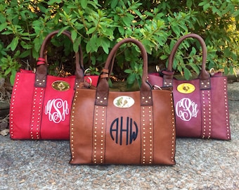 Fall Colors Monogram Purse/ Monogram Bag Pocketbook/ Preppy studded Monogram Purse