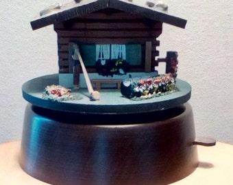 Vintage Swiss chalet music, trinket, jewelry box, Swiss movement music box, Cuendet wooden Swiss chalet