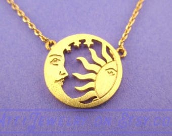Crescent Moon and Sun Dye Cut Round Pendant Necklace in Gold  | Minimalistic Handmade Jewelry