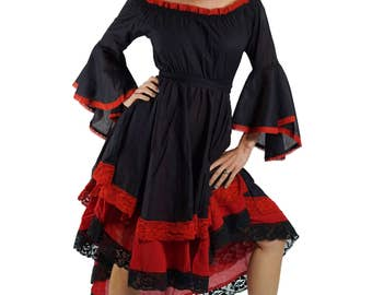 LACE DRESS LS Black/Red - Women's Pirate Costume, Renaissance Festival Clothing, Larp Costume, Bell Sleeves, Gypsy Dress, Steampunk, Corset