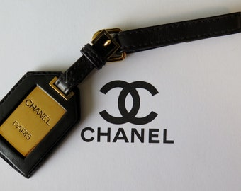 Chanel Vintage Leather Luggage Tag