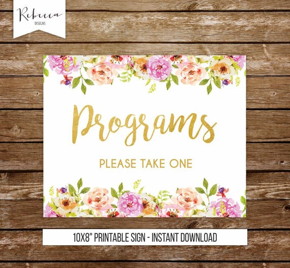 programs sign wedding program sign please take one sign rustic