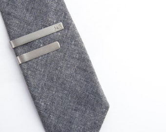 Stainless Steel Tie Clip, Skinny, Standard, Hammered, Smooth