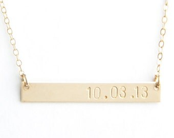 "Long Bar Date Necklace, 1.50"", Personalized, Gold Filled, Sterling Silver, Rose Gold Filled"