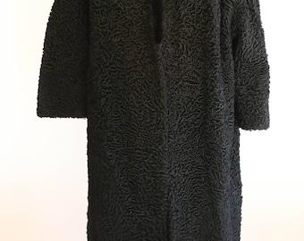 black persian lamb fur coat with fox fur collar vintage 1950s