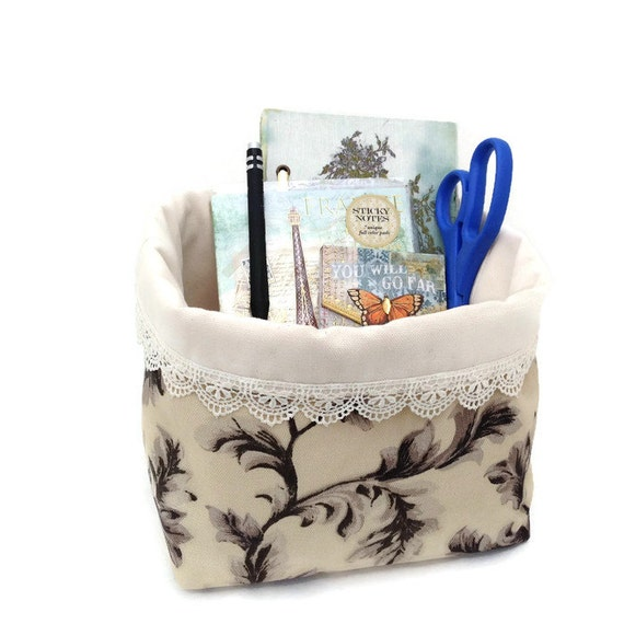 Fabric basket, Desk organizer, Fabric bucket, Soft bucket, Romantic home decor, Storage bin, Office caddy, Makeup organizer