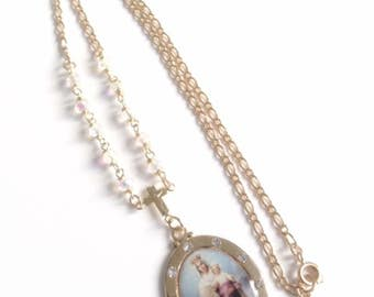 Gold Rosary Necklace Our Lady of Mount Carmel Medal Virgen del Carmen Virgin Mary Jewelry Catholic Medals Holy Mother pendant Catholic Gift