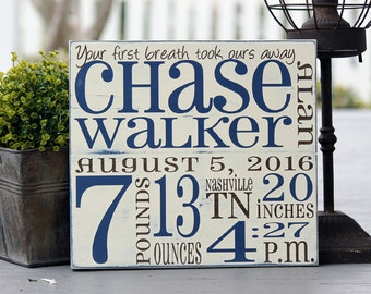 """Birth Announcement sign, Birth Stats sign, Hand painted wood sign, New baby gift, Measures 11"""" x 12"""""""