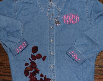 Monogrammed Denim Shirt ---