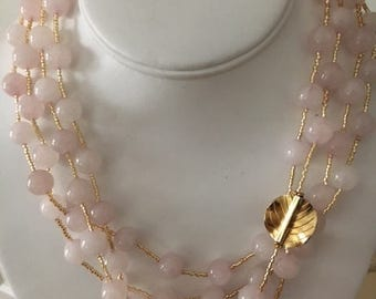 Pink Jade and Gold Necklace