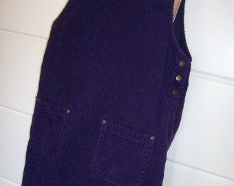 Denim & Co. VTG Purple Corduroy Jumper Dress Size Small