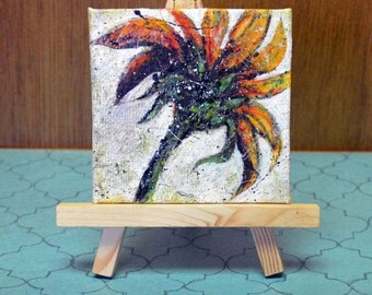 Mini Original Sunflower Painting with Easel, Multimedia Painting