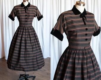 Coventry Carol dress | vintage 50s dress | black / copper striped 1940s dress | Harco Original | 50s taffeta & velvet party / holiday dress