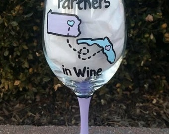 Partners in Wine handpainted wine glass best friend wine glass/ best friend /birthday gift/besties gift/partners in crime/long distance