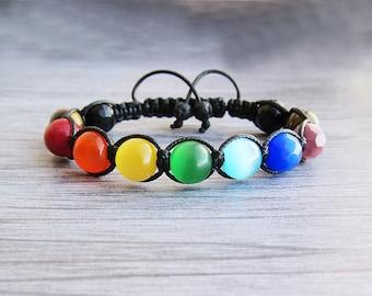 7 chakra bracelet Women bracelet Boho bracelet seven chakra bracelet Yoga bracelet LGBT bracelet Gay pride bracelet Shamballa bracelet
