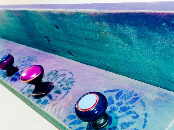floating nightstand hanging vanity /custom wooden shelves boho entryway organizer wall coat rack hooks teal painted mandalas decor 5 knobs