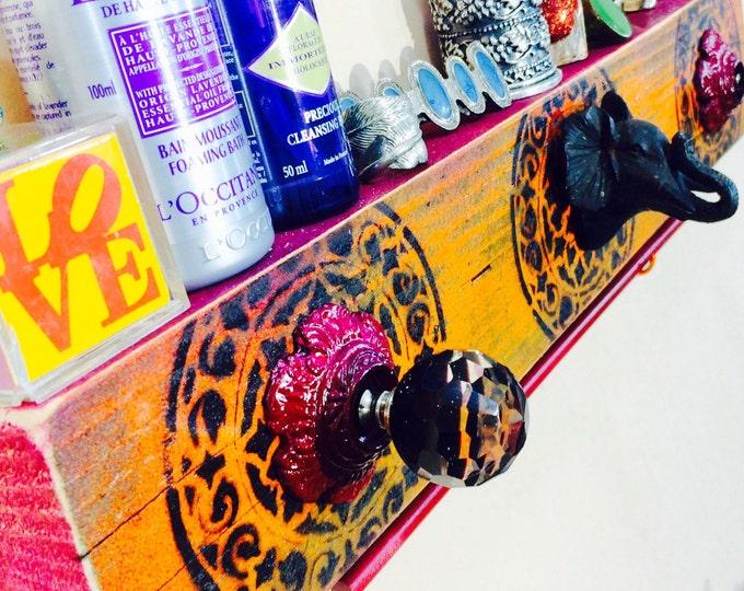 Bathroom towel rack /wooden makeup organizer mandala wall art /reclaimed wood elephant decor organizer 3 knobs 2 hooks & wooden towel rod