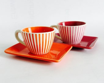 Yves Rocher espresso cups - striped cups with oblong saucers, LBVYR