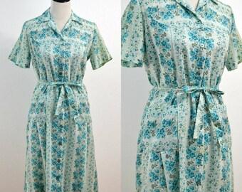 1960s Nancy Frocks Shirt Dress / 60s Vintage Shift Dress / Teal Floral Dress / Medium M Large L / Belted Dress / Cotton Dress / Mid Century